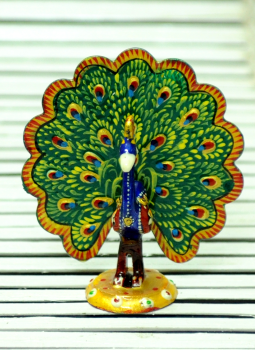 Brass Metal Art,Indiacraft,Meenakari Art  - Small Peacock