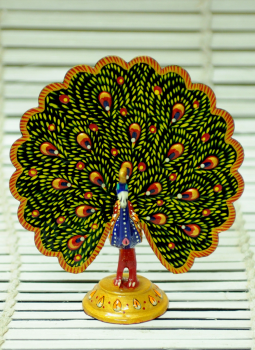 Brass Metal Art,Indiacraft,Meenakari Art   - Large Peacock