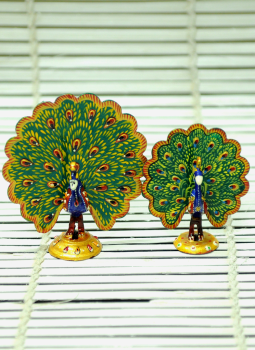 Brass Metal Art,Indiacraft,Meenakari Art  set of Peacock