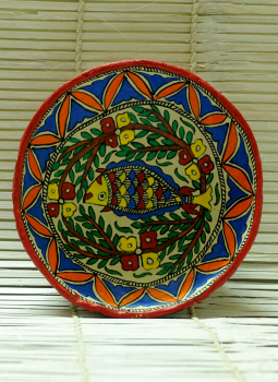 Trays,Indiacraft,Madhubani Art -Utility Fruit Basket  Papier Mache Multico...
