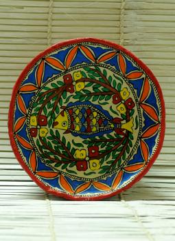Trays,Indiacraft,Madhubani Art -Utility Fruit Basket  Papier Mache Multico...