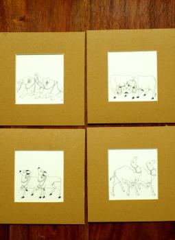 Miniature Art on Postcard,Indiacraft,Fine Miniature Art Sketch - animals ( set of 4)  MAPSA