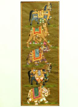 Miniature Art on Postcard,Indiacraft,Miniature Art on paper - animals   MAPSB