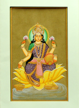 Miniature Art on Postcard,Indiacraft,Miniature Art on paper - Goddess Laksmi  MAPSE
