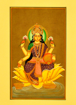Miniature Art on Postcard,Indiacraft,Miniature Art on paper - Goddess Laksmi  MAPSE