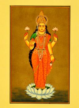 Miniature Art on Postcard,Indiacraft,Miniature Art on paper - Goddess Laksmi standing   MAPSF