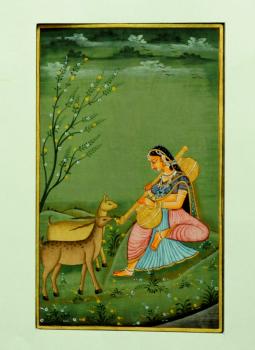 Miniature Art on Postcard,Indiacraft,Miniature Art on paper - woman & deer   MAPSG