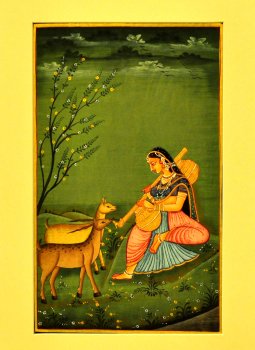 Miniature Art on Postcard,Indiacraft,Miniature Art on paper - woman & deer   MAPSG