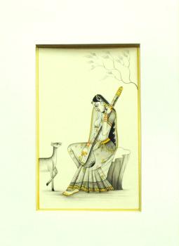 Miniature Art on Postcard,Indiacraft,Miniature Art on paper - Woman sitting with deer  MAPSJ
