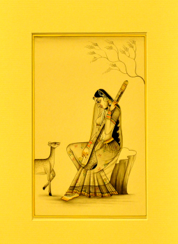 Miniature Art on Postcard,Indiacraft,Miniature Art on paper - Woman sitting with deer  MAPSJ