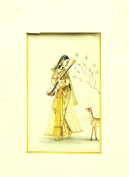 Miniature Art on Postcard,Indiacraft,Miniature Art on paper - Woman with deer MAPSL