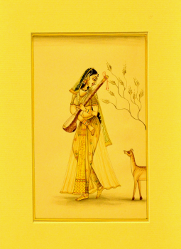 Miniature Art on Postcard,Indiacraft,Miniature Art on paper - Woman with deer MAPSL