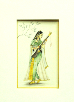 Miniature Art on Postcard,Indiacraft,Miniature Art on paper - Woman with instrument MAPSM
