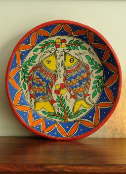 Trays,Indiacraft,Madhubani Art -Utility Basket  Papier Mache Multicoloured...