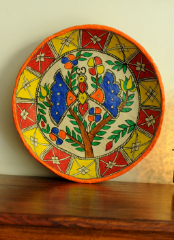 Trays,Indiacraft,Madhubani Art -Utility Basket  Papier Mache Multicoloured...