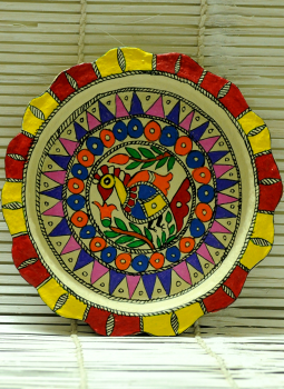 Trays,Indiacraft,Madhubani Art -Utility Tray  Papier Mache Multicoloured