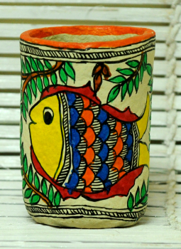 Mabdhubani Pen Stand,Indiacraft,Madhubani Pen Holder - Papier Mache