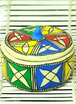 Mabdhubani Pen Stand,Indiacraft,Madhubani Papier Mache Box Small