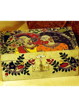 Madhubani Painted Canisters,Indiacraft,Madhubani painted Tin Trunk Large - women  MPTTW