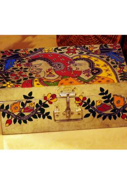 Madhubani Painted Canisters,Indiacraft,Madhubani painted Tin Trunk Large - women & flora MPTTWF
