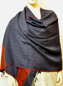 Warm Stoles & Mufflers,Indiacraft,Himachal Wool Stole - Navy with Red & Orange border  (2.0...