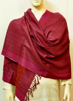 Warm Stoles & Mufflers,Indiacraft,Himachal Wool Stole - Dark Pink striped & Orange  (2.00mt...