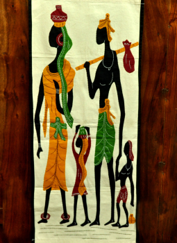 Kutch Embroidered Wall Hanging,Indiacraft,Orissa applique & patchwork on canvas - family of 4  (H*-...