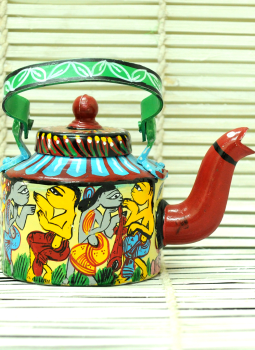 Brass Metal Art,Indiacraft,Potua Art Tin Teapot Curio
