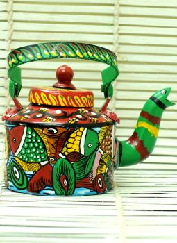 Brass Metal Art,Indiacraft,Potua Art Tin Teapot Curio