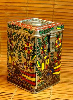 Madhubani Painted Canisters,Indiacraft,Madhubani Painted Steel Canister Medium (H-9''x W-6'') PK...