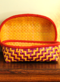 Palm leaf basketry -Tamil Nadu,Indiacraft,Palm Leaf Fruit Basket- Set of 2 Orange & Red  PLFB2A