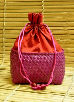 Palm leaf basketry -Tamil Nadu,Indiacraft,Palm Leaf Large Potli Bag -Purple & Magenta Line ( H- 7.5...
