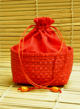 Palm leaf basketry -Tamil Nadu,Indiacraft,Palm Leaf Large Potli Bag -Red ( H- 7.5