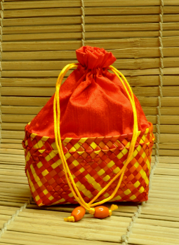 Palm leaf basketry -Tamil Nadu,Indiacraft,Palm Leaf Large Potli Bag -Red & Yellow ( H- 7.5