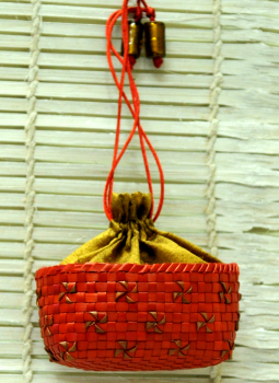 Benarasi potli  bag,Indiacraft,Palm Leaf Small Potli Bag -Red & Gold