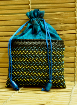 Palm leaf basketry -Tamil Nadu,Indiacraft,Palm Leaf Square Potli Bag -Black & Peacock Blue ( H-8