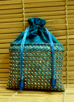 Palm leaf basketry -Tamil Nadu,Indiacraft,Palm Leaf Square Potli Bag -Pale Blue & Peacock Blue ( H-...