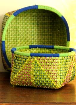 Palm leaf basketry -Tamil Nadu,Indiacraft,Palm Leaf  Utility Baskets - Set of 2,Grey  PLUB2A