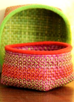 Palm leaf basketry -Tamil Nadu,Indiacraft,Palm Leaf  Utility Baskets - Set of 2 Multicoloured  PLUB2B