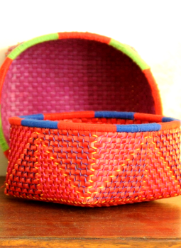 Palm leaf basketry -Tamil Nadu,Indiacraft,Palm Leaf  Utility Baskets - Set of 2 Multicoloured  PLUB2C