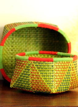 Palm leaf basketry -Tamil Nadu,Indiacraft,Palm Leaf  Utility Baskets - Set of 2 Multicoloured PLUB2E