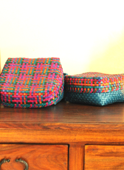 Palm leaf basketry -Tamil Nadu,Indiacraft,Palm Leaf  Utility Baskets - Set of 2 Multicoloured PLUB2G