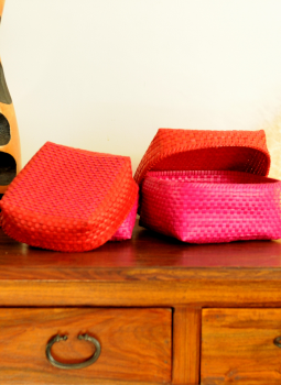 Palm leaf basketry -Tamil Nadu,Indiacraft,Palm Leaf  Utility Baskets - Set of 2 Red & Pink PLUB2J