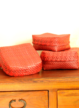 Palm leaf basketry -Tamil Nadu,Indiacraft,Palm Leaf  Utility Baskets - Set of 3,Red & Brown PLUB3H