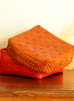 Palm leaf basketry -Tamil Nadu,Indiacraft,Palm Leaf  Utility Baskets -  Red & Pink PLUBA