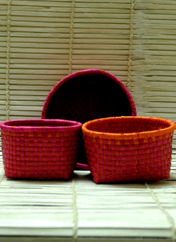 Palm leaf basketry -Tamil Nadu,Indiacraft,Palm Leaf  Utility Baskets -  Pink
