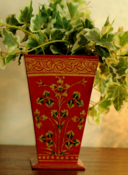 Papier Mache design on wood,Indiacraft,Papier Mache Decorative Vase -  Red & Gold PMDVC