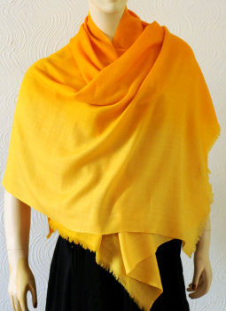 Warm Stoles & Mufflers,Indiacraft,Pure pashmina shaded Stole - golden yellow  PPKSD