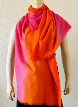 Warm Stoles & Mufflers,Indiacraft,Pure pashmina shaded Stole - pink & orange  PPKSE