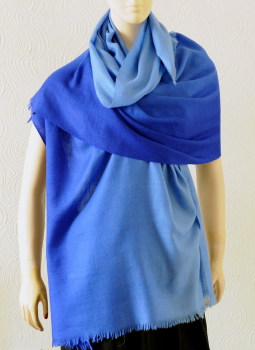 Warm Stoles & Mufflers,Indiacraft,Pure pashmina shaded Stole - Royal blue PPKSG